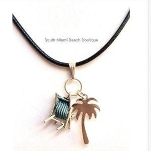 "Silver Palm Tree Necklace Tropics Beach Island 19"""